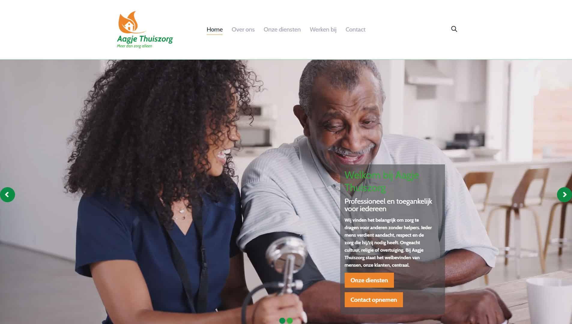 De voorpagina van de aagje thuiszorg website die is gemaakt door galileo academy