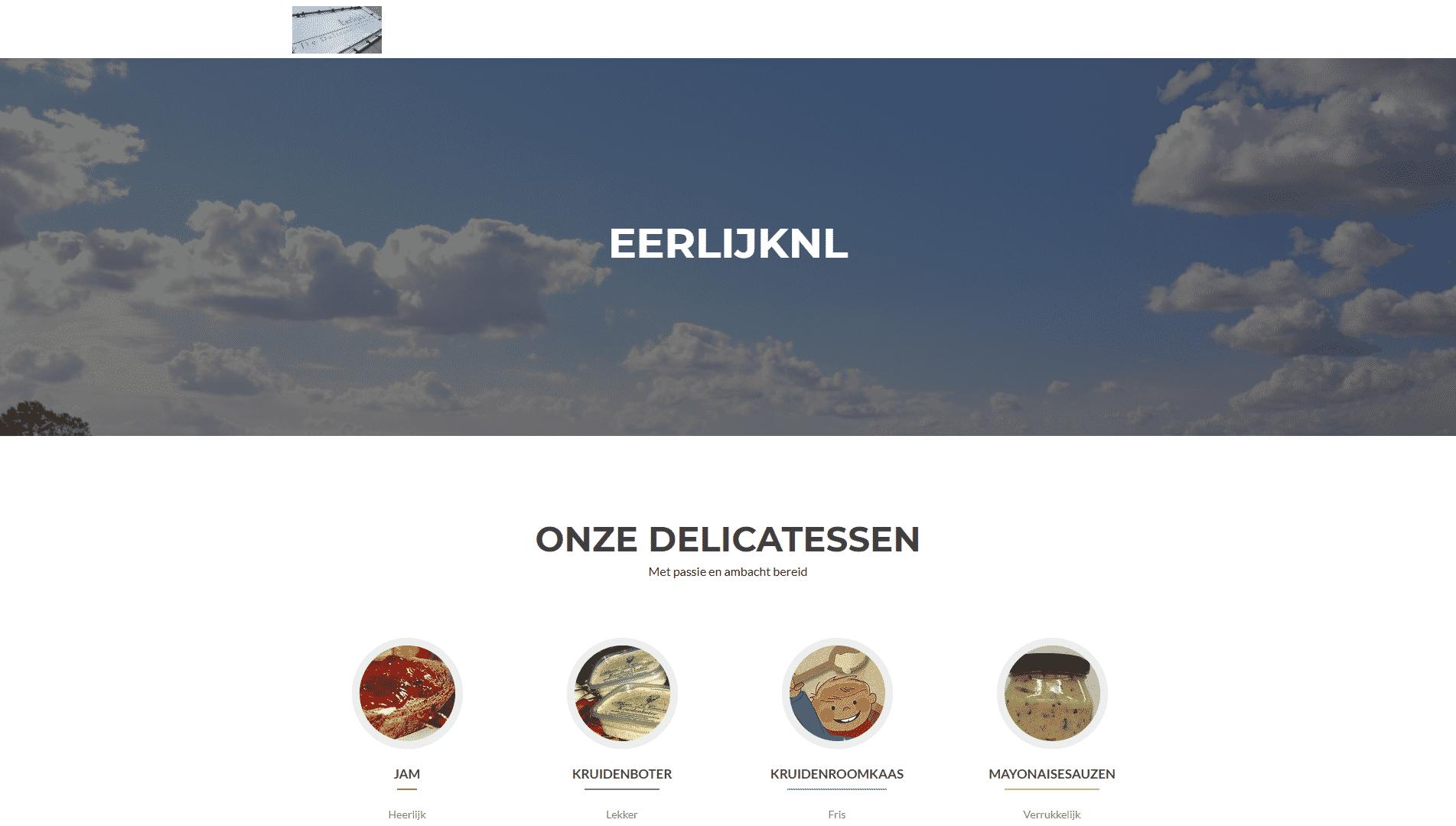 De voorpagina van de website van eerlijknl die gemaakt is door galileo academy