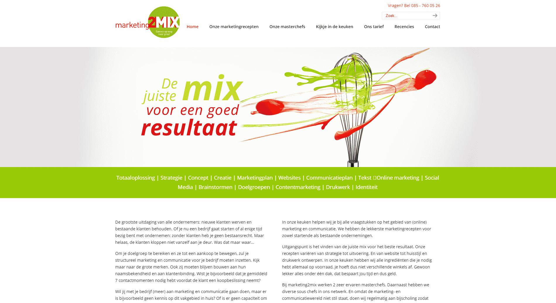 De voorpagina van de website marketing2mix die galileo academy heeft gemaakt