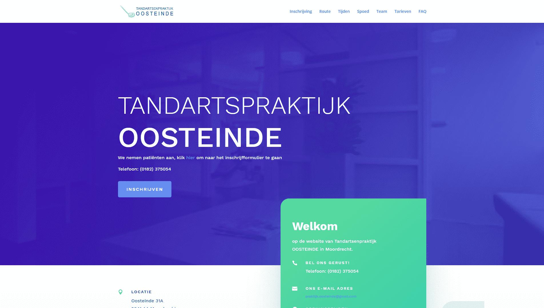 De voorpagina van de website van tandartspraktijk oosteinde die gemaakt is door galileo academy