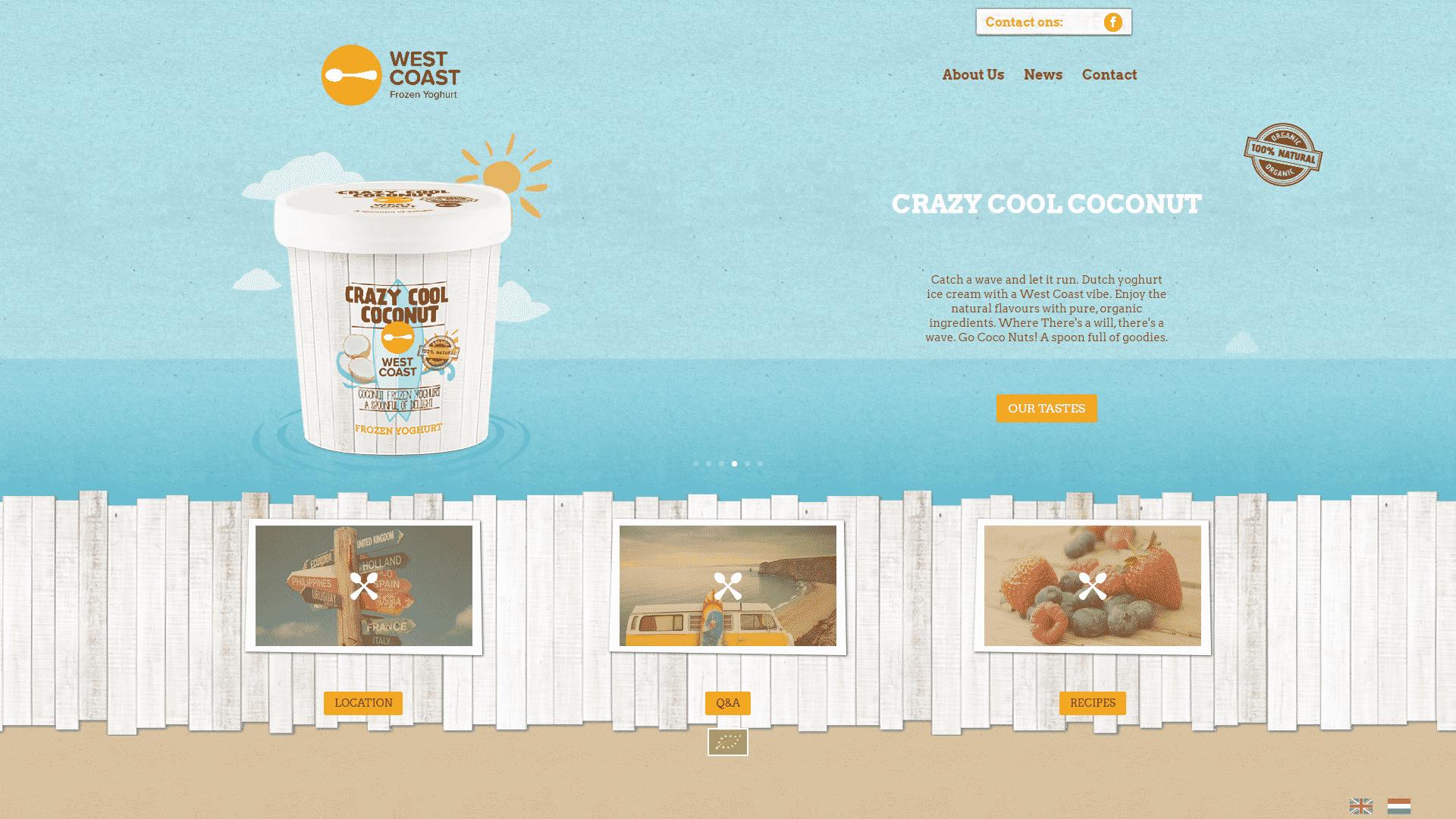De voorpagina van de website westcoast frozen yoghurt die is gemaakt door galileo academy