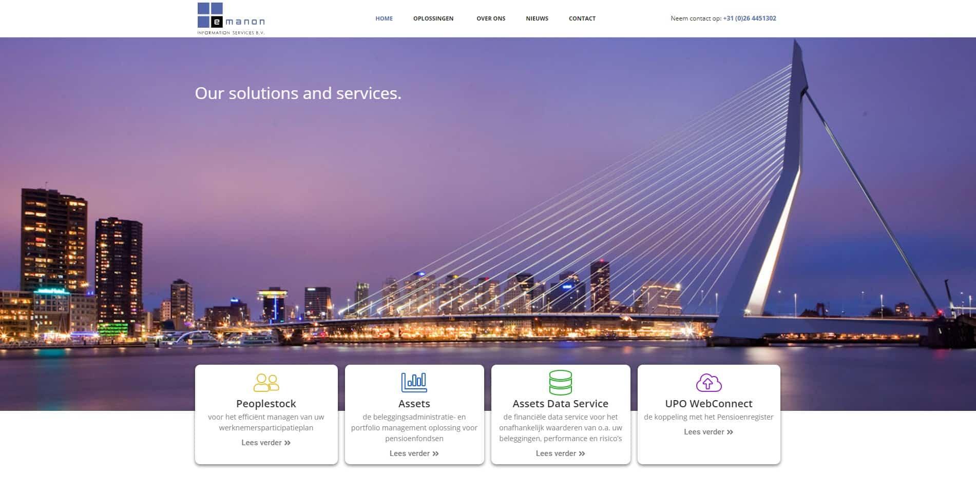 De voorpagina van de emanon website die galileo academy heeft gemaakt