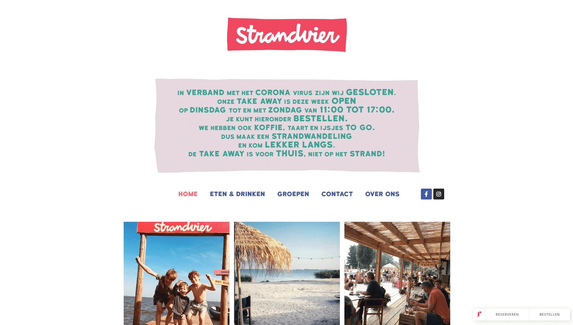 De voorpagina van de website van strandvier die galileo academy heeft gemaakt