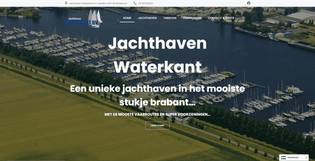 De voorpagina van de website jachthaven waterkant die galileo academy heeft gemaakt.