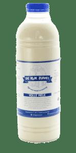 Een fles volle melk, dit product wordt gemaakt door de rijk zuivel en het etiket is gemaakt door galileo academy.