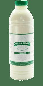 Een fles yoghurt, dit product wordt gemaakt door de rijk zuivel en het etiket is gemaakt door galileo academy.